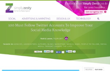 http://www.simplyzesty.com/social-media/100-must-follow-twitter-accounts-to-improve-your-social-media-knowledge/