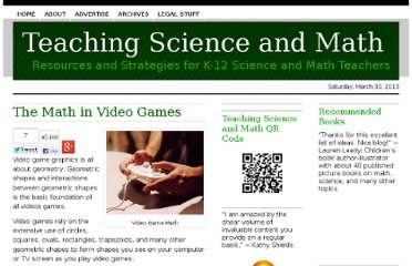 http://www.teachscienceandmath.com/2009/03/22/the-math-in-creating-video-games/
