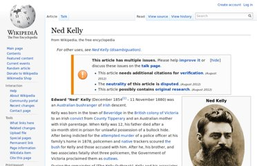 http://en.wikipedia.org/wiki/Ned_Kelly