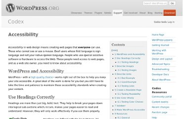 http://codex.wordpress.org/Accessibility