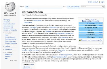 http://en.wikipedia.org/wiki/Corporatization
