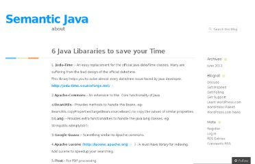 http://semanticjava.wordpress.com/2011/06/16/6-java-libararies-to-save-your-time/