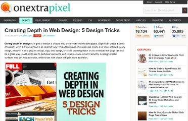 http://www.onextrapixel.com/2011/06/20/creating-depth-in-web-design-5-design-tricks/