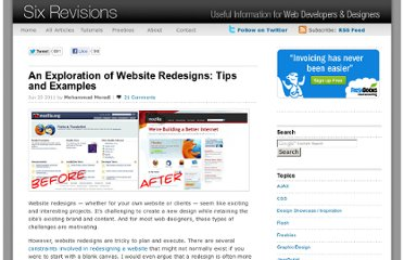 http://sixrevisions.com/web_design/an-exploration-of-website-redesigns-tips-and-examples/