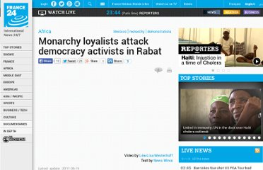 http://www.france24.com/en/20110619-monarchy-loyalists-attack-democracy-activists-rabat-morocco-king-reforms#