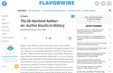 http://flavorwire.com/188138/the-30-harshest-author-on-author-insults-in-history