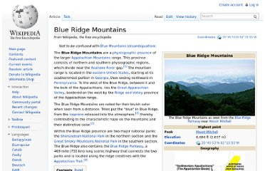 http://en.wikipedia.org/wiki/Blue_Ridge_Mountains