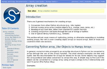http://docs.scipy.org/doc/numpy-1.6.0/user/basics.creation.html#arrays-creation