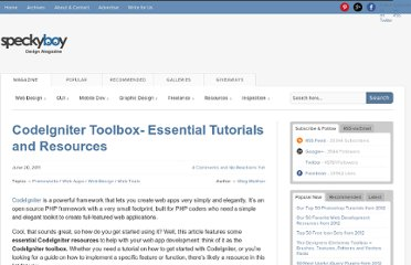 http://speckyboy.com/2011/06/20/codeigniter-toolbox-essential-tutorials-and-resources/