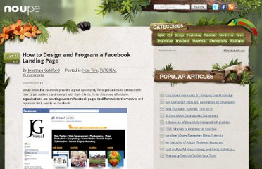 http://www.noupe.com/how-tos/how-to-design-and-program-a-facebook-landing-page.html