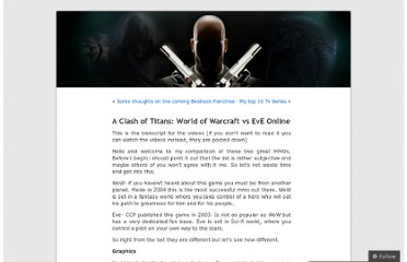 http://torvikreviews.wordpress.com/2010/06/27/a-clash-of-titans-world-of-warcraft-vs-eve-online/