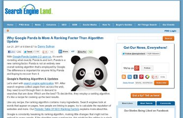 http://searchengineland.com/why-google-panda-is-more-a-ranking-factor-than-algorithm-update-82564
