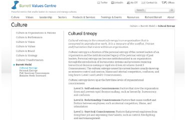 http://www.valuescentre.com/culture/?sec=barrett_model&sub=cultural_entropy