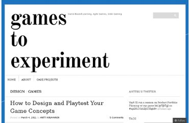 http://learninggamedev.wordpress.com/2011/03/04/how-to-design-and-playtest-your-game-concepts/