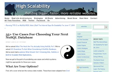 http://highscalability.com/blog/2011/6/20/35-use-cases-for-choosing-your-next-nosql-database.html