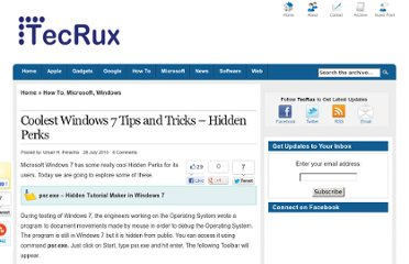 http://www.tecrux.com/2010/07/28/coolest-windows-7-tips-and-tricks-hidden-perks/
