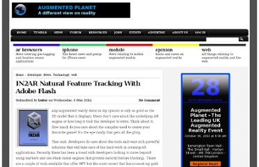 http://www.augmentedplanet.com/2011/05/in2ar-natural-feature-tracking-with-adobe-flash/