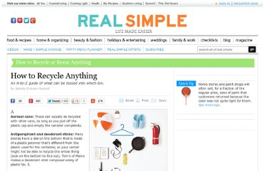 http://www.realsimple.com/home-organizing/organizing/tips-techniques/recycle-anything-00000000006117/index.html