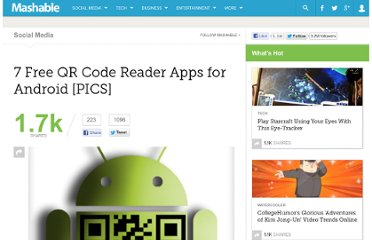http://mashable.com/2011/06/22/qr-code-apps-android/