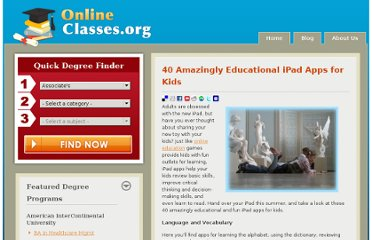 http://www.onlineclasses.org/2010/06/16/40-amazingly-educational-ipad-apps-for-kids/