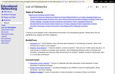 http://www.educationalnetworking.com/List+of+Networks