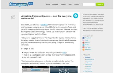 http://blog.foursquare.com/2011/06/23/american-express-specials-now-for-everyone-nationwide/