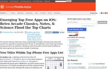 http://www.insidemobileapps.com/2011/06/23/emerging-top-free-apps-on-ios-retro-arcade-classics-notes-science-flood-the-top-charts/