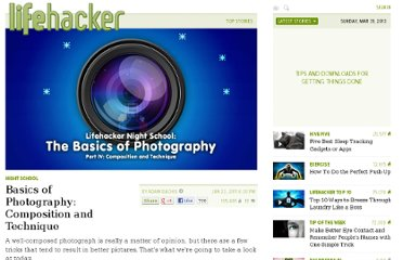 http://lifehacker.com/5814174/basics-of-photography-composition-and-technique