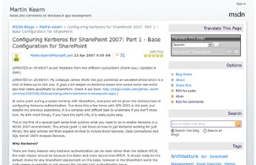 http://blogs.msdn.com/b/martinkearn/archive/2007/04/23/configuring-kerberos-for-sharepoint-2007-part-1-base-configuration-for-sharepoint.aspx