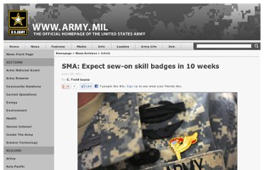 http://www.army.mil/article/60254/SMA__Expect_sew_on_skill_badges_in_10_weeks/