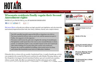 http://hotair.com/archives/2011/06/23/wisconsin-residents-finally-regain-their-second-amendment-rights/