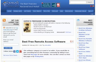 http://www.techsupportalert.com/best-free-remote-access-software.htm