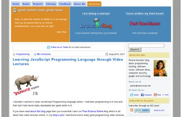 http://www.catonmat.net/blog/learning-javascript-programming-language-through-video-lectures/