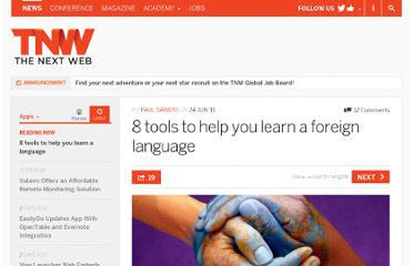 http://thenextweb.com/apps/2011/06/24/8-tools-to-help-you-learn-a-foreign-language/