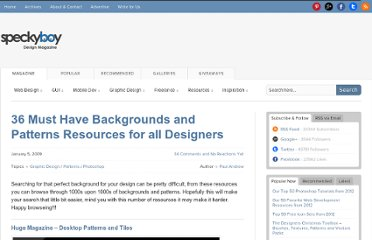 http://speckyboy.com/2009/01/05/36-must-have-backgrounds-and-patterns-resources-for-all-designers/