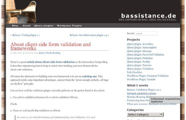 http://bassistance.de/2007/07/04/about-client-side-form-validation-and-frameworks/