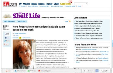 http://shelf-life.ew.com/2009/12/08/nora-roberts-to-release-a-downloadable-game-based-on-her-work/