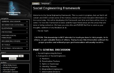 http://www.social-engineer.org/framework/Social_Engineering_Framework