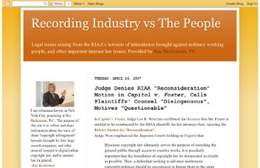 http://recordingindustryvspeople.blogspot.com/2007/04/judge-denies-riaa-reconsideration.html