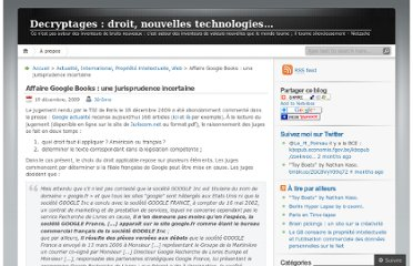 http://decryptages.wordpress.com/2009/12/19/affaire-google-books-une-jurisprudence-incertaine/