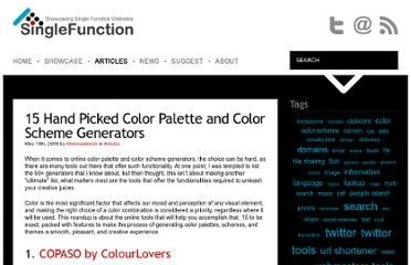 http://singlefunction.com/15-hand-picked-color-palette-and-color-scheme-generators/