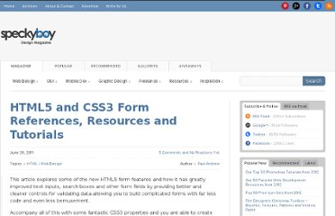 http://speckyboy.com/2011/06/26/html5-and-css3-form-references-resources-and-tutorials/