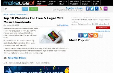 http://www.makeuseof.com/tag/top-10-websites-for-free-legal-mp3-music-downloads/