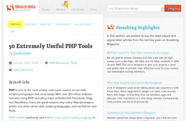 http://coding.smashingmagazine.com/2009/01/20/50-extremely-useful-php-tools/