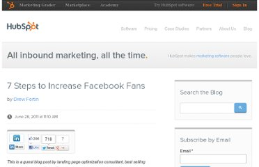 http://blog.hubspot.com/blog/tabid/6307/bid/18192/7-Steps-to-Increase-Facebook-Fans.aspx