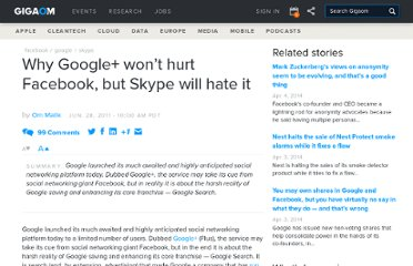 http://gigaom.com/2011/06/28/why-google-plus-wont-hurt-facebook-but-skype-will-hate-it/