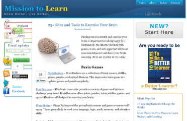 http://www.missiontolearn.com/2009/07/brain-training-exercises/