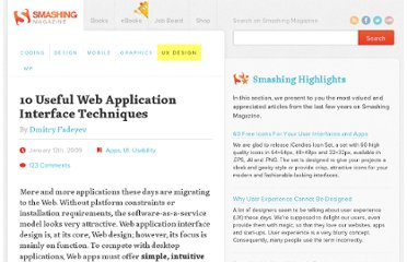 http://uxdesign.smashingmagazine.com/2009/01/12/10-useful-web-application-interface-techniques/