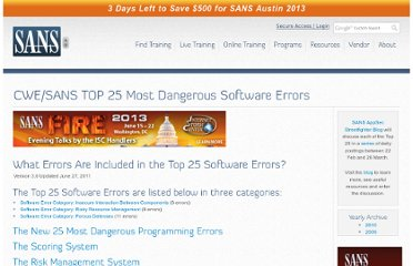 http://www.sans.org/top25-software-errors/#cat1