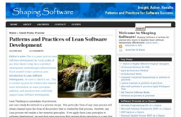 http://shapingsoftware.com/2009/06/22/patterns-and-practices-of-lean-software-development/
